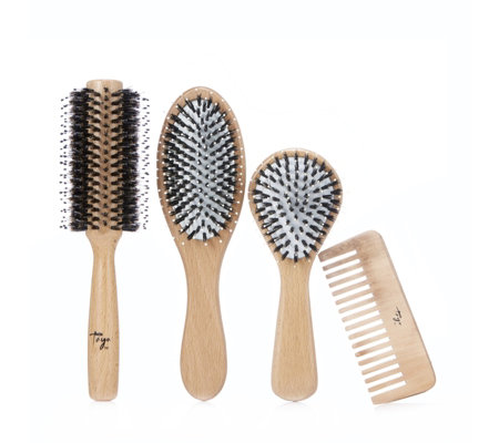 Taya 4 Piece Complete Wooden Brush Collection