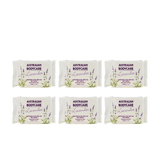 Australian Bodycare 6 x 24 Piece Lavender Wet Wipes