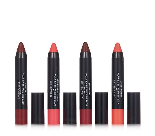Laura Gelller 4 Piece Love Me Dew Chubby Lipstick Crayon Collection