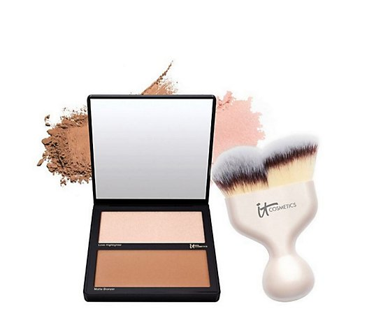 IT Cosmetics Hello Cheekbones Palette w/ Hello Cheekbones Brush