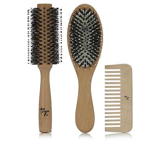 Taya 3 Piece Wooden Hair Brush & Comb Collection