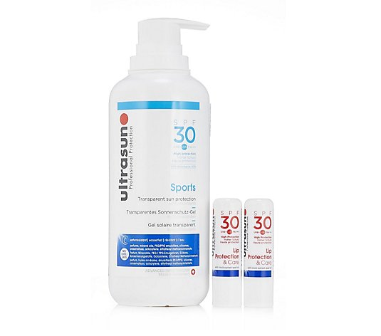 Ultrasun Sun Protection Supersize Sports SPF 30 400ml & Ultralip Duo