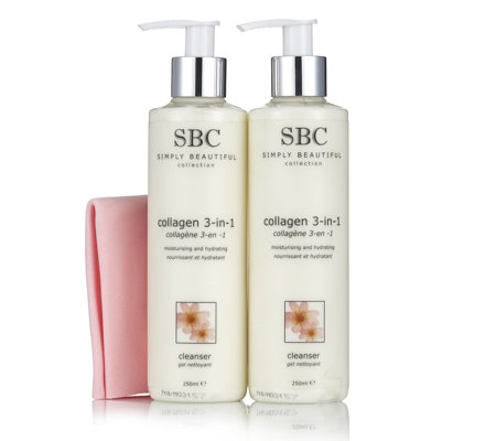 SBC 3 Piece Collagen Cleanser Duo with Shammy