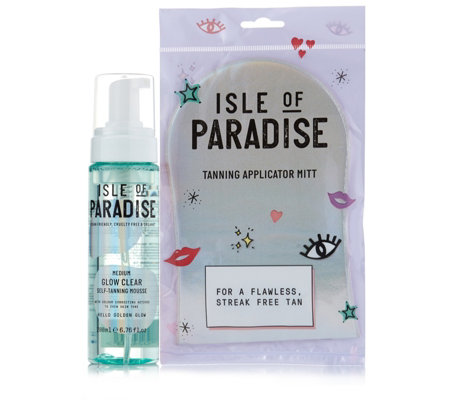 Isle of Paradise Glow Clear Self Tanning Mousse 200ml & Mitt
