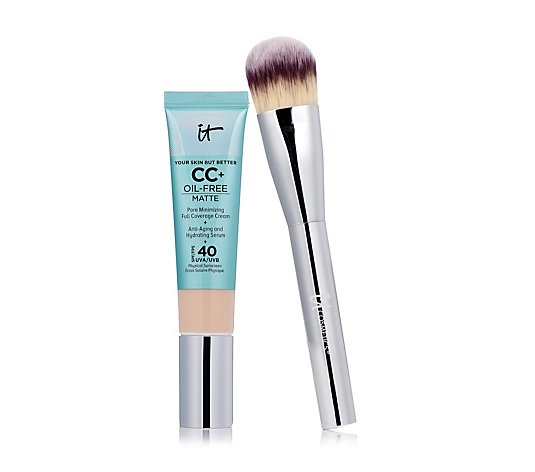 IT Cosmetics Full Coverage SPF 40 CC+ Oil-Free Matte & Plush Paddle Brush