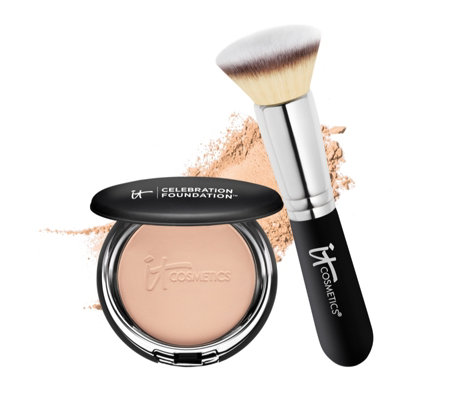 IT Cosmetics Celebration Foundation & Heavenly Luxe Flat Top Brush