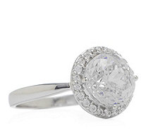 Diamonique 3ct tw Heritage Cut Halo Ring Sterling Silver - 330500