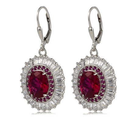 Diamonique by Tova 9.4ct tw Simulated Ruby Leverback Earrings Sterling Silver