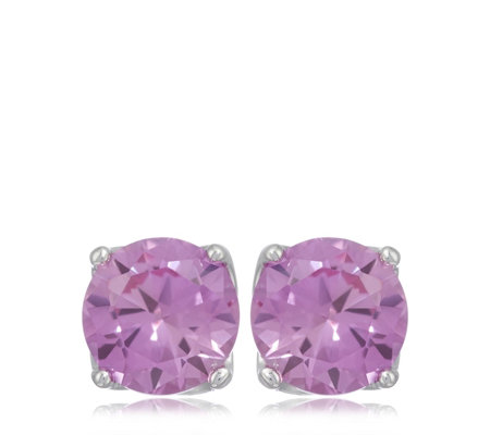 Diamonique 2ct tw Simulated Gemstone Stud Earrings Sterling Silver