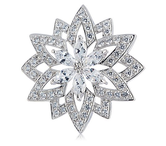 Diamonique 6.7ct tw Star Flower Brooch Sterling Silver