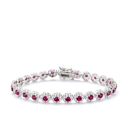 Diamonique 15ct tw Simulated Gemstone Tennis Bracelet Sterling Silver