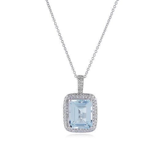 2.75ct Aquamarine Octagon & 0.30ct Diamond 45cm Necklace 14ct Gold