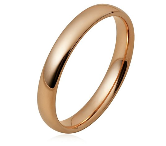 Ceramic Gold 3mm Court Shape Wedding Band Ring