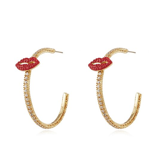 Butler & Wilson Crystal Lips Hoop Earrings