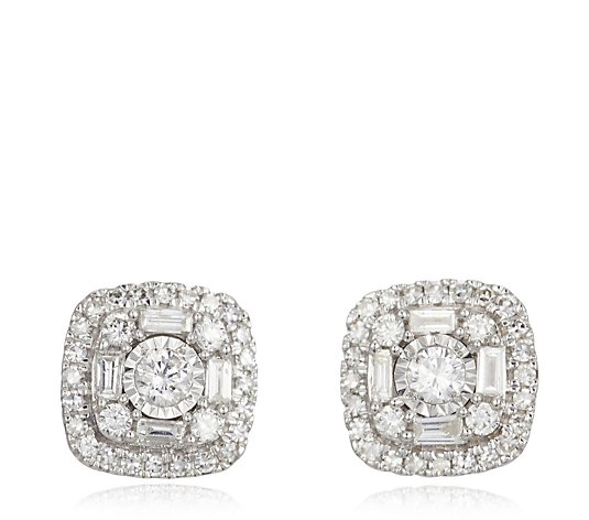 0.50ct Diamond Mixed Cut Cushion Shape Halo Stud Earrings 9ct Gold
