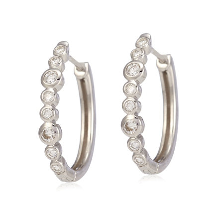 Outlet 0 30ct E F Diamond Bubbles Huggie Earrings 9ct White Gold Qvc Uk