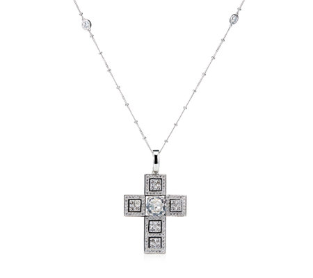 Diamonique by Tova 9.6ct tw Cross Pendant & 70cm Chain Sterling Silver