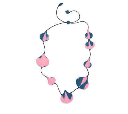 One Button Resin Stripe Leaf 92cm Necklace