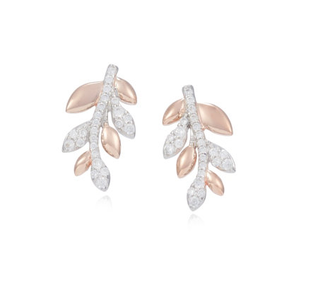 Outlet Diamonique 0.3ct tw Leaf Earrings Sterling Silver