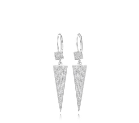 Diamonique 0.7ct tw Spike Drop Leverback Earrings Sterling Silver