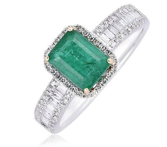 1.50ct Zambian Emerald Octogan & 0.50ct Diamond Ring 14ct Gold
