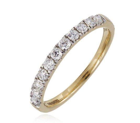 0.50ct H SI2 Fire Light Lab Grown Diamond Half Eternity Ring 18ct Gold