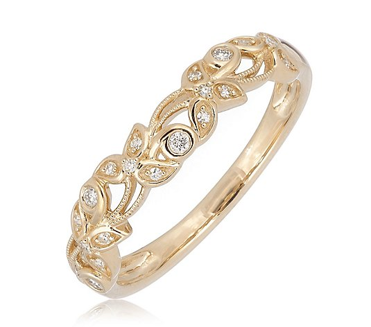0.10ct Diamond Estate Collection Floral Band Miligrain Ring 9ct Gold