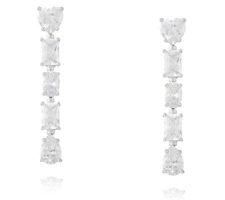 Michelle Mone for Diamonique 4ct tw Mixed Cut Drop Earrings Sterling Silver