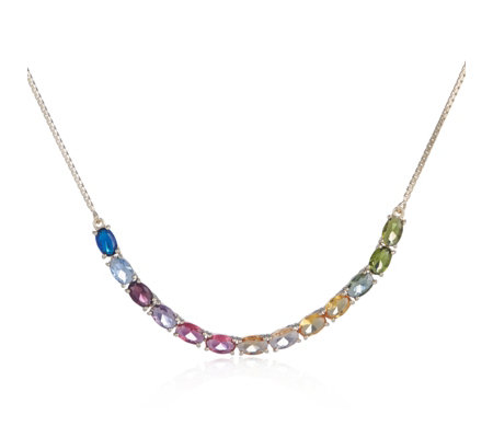 Diamonique 6.5ct tw Oval Cut 45cm Necklace Sterling Silver