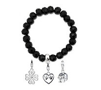 Thomas Sabo Black Obsidian Bracelet with Charms Sterling Silver - 340102