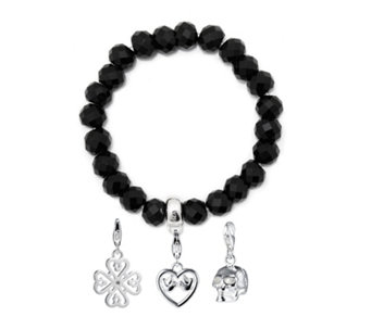 Thomas Sabo Black Obsidian Bracelet With Charms Sterling Silver 340102