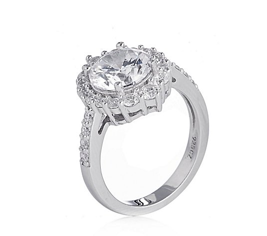 Diamonique 3.94ct tw Round Halo Ring Sterling Silver