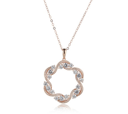 Diamonique 3ct tw Entwined Circle Pendant & 45cm Chain Sterling Silver
