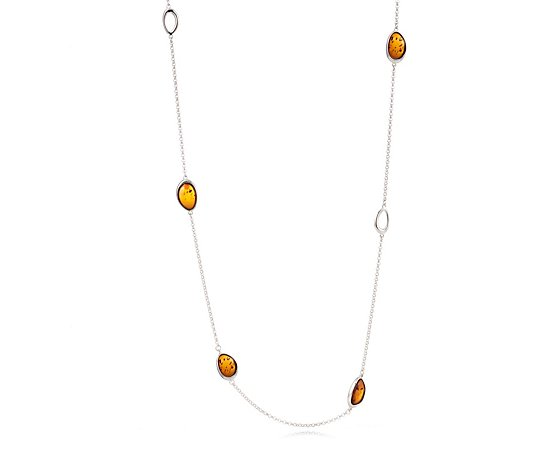 Amber Jewellery Designs Station 65cm Necklace Sterling Silver