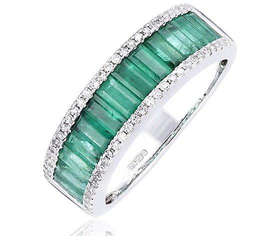 1.00ct Zambian Emerald & 0.16ct Diamond Channel Set Ring 14ct Gold