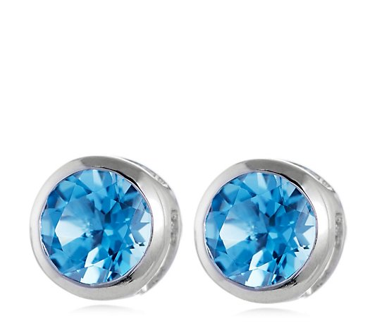 1.10ct Round Blue Topaz Stud Earrings 14ct Gold