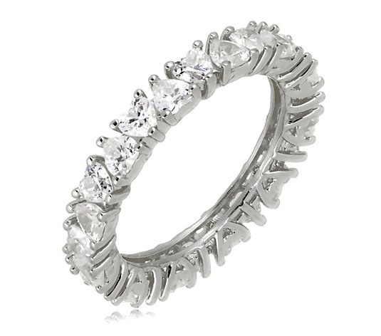 Diamonique 2.2ct tw Heart Cut Eternity Ring Sterling Silver