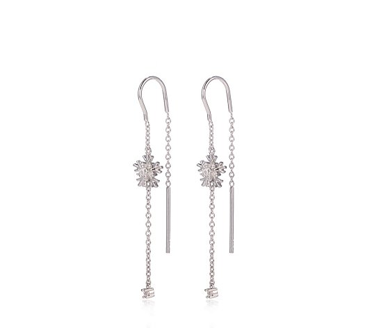Diamonique 0.2ct tw Snowflake Thread Through Earrings Sterling Silver