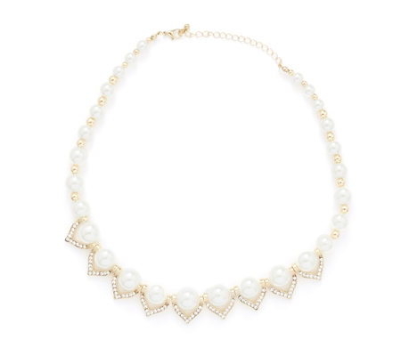 Frank Usher Simulated Pearl & Crystal 45cm Necklace