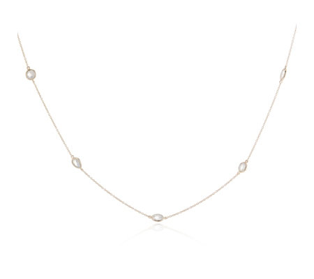 Lisa Snowdon Rainbow Moonstone 80cm Necklace Sterling Silver