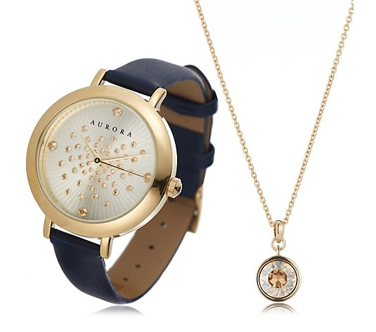 Aurora Swarovski Crystal Watch & Pendant Set