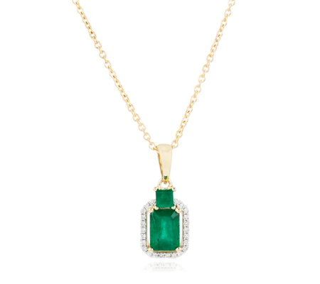 1.00ct Zambian Emerald Octagon & 0.12ct Diamond 45cm Necklace 9ct Gold