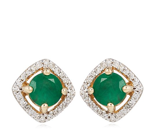 0.70ct Round Emerald & 0.14ct Diamond Stud Earrings 14ct Gold