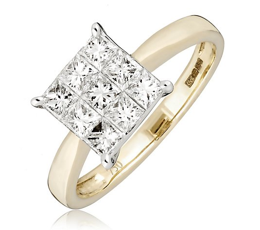 1.00ct Diamond G-H SI1 Princess Solitaire Style Ring 18ct Gold