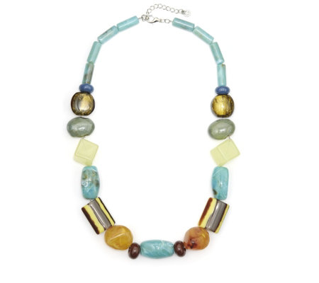 One Button Oh So Yummy Polished Multi Bead 52cm Necklace