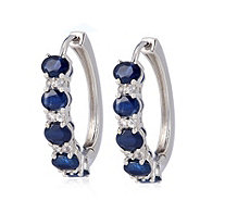 2.25ct Blue & White Hoop Earrings 9ct Gold - 337004