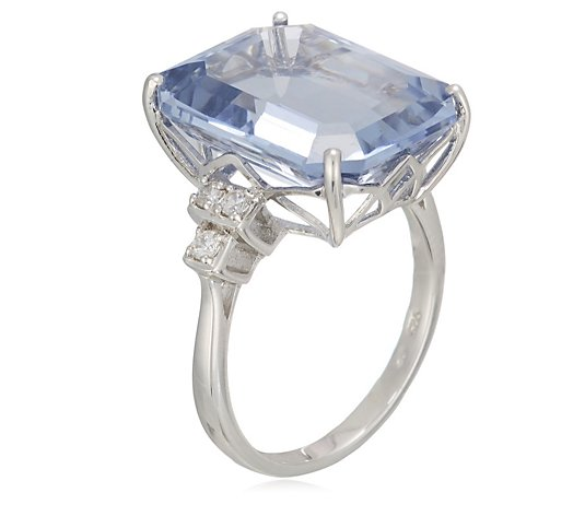 Michelle Mone for Diamonique 20ct tw Simulated Aquamarine Ring Sterling Silver