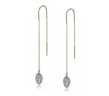 K by Kelly Hoppen Capri Gemstone Threader Earrings Sterling Silver