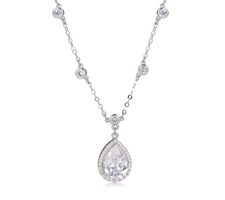 Diamonique 3.9ct tw Pear Cut Pendant & 45cm Chain Sterling Silver