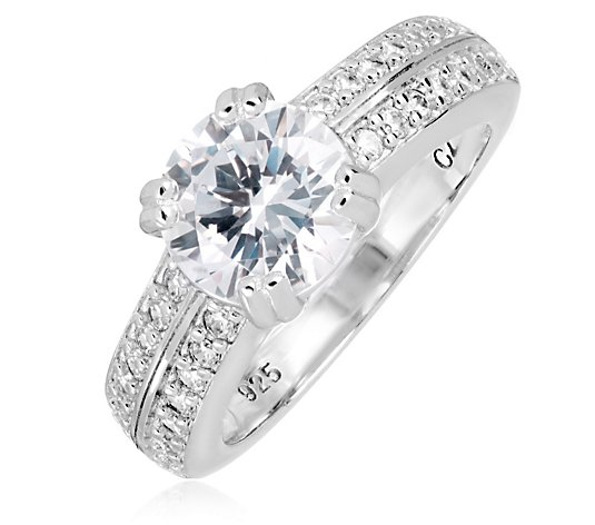 Diamonique 1ct tw Platinum Plated Solitaire Ring Sterling Silver